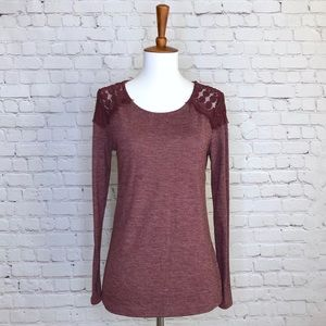 Old Navy Maroon Long Sleeve with Lace